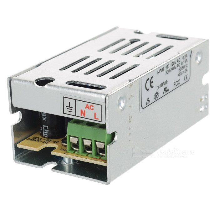 5V 2A 10W Switching Power Supply for Security / Light Strip - Silver