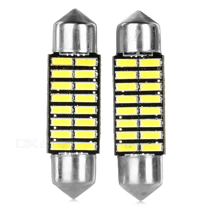 Festoon 36mm 1W 6500K 16-SMD 4014 Decodificar la luz blanca (2PCS / DC 12V)
