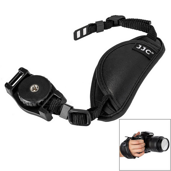 JJC HS-A Universal Sheepskin Wrist Hand Strap for Digital SLR Camera - Black