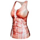 Women's Muscle Pattern Nylon + Spandex Vest Top - Red + White