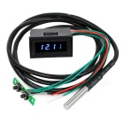 "1.2"" Blue LED Time / Votage / Temperature Digital Display Thermometer Voltmeter - Black"
