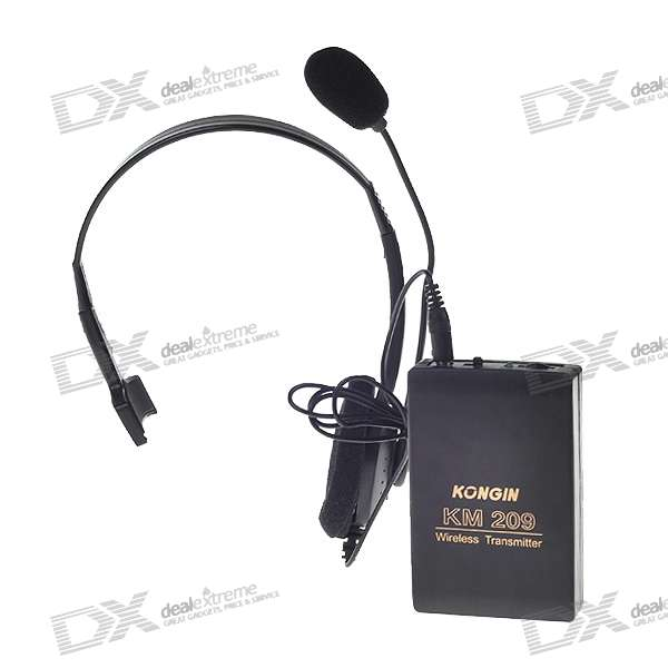 Wireless FM Transmitter + Receiver Set w/ Mini Clip Microphone + Headphone