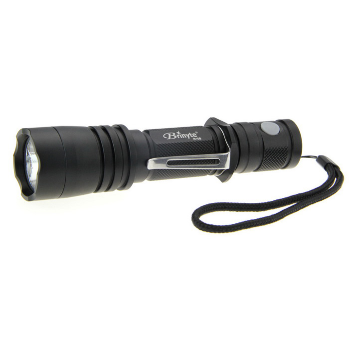 Brinyte B108 LED 6-Mode Dual-Switch Memory Tactical Flashlight - Black