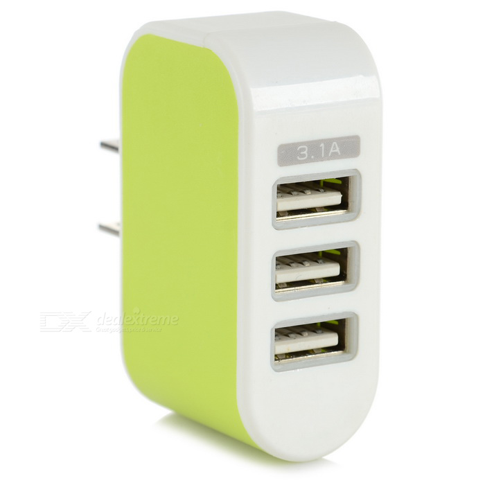 5V 3.1a 3-Port USB Smart snel opladen Power Adapter Oplader w-LED White + groen (Amerikaanse Plug)