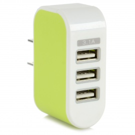 3-USB Quick Charging Power Adapter w/ LED - White + Green (US Plugs)