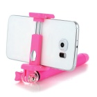 Retractable Bluetooth Selfie Stick w/ Holder for Phone - Deep Pink