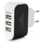3-USB Charger + Micro USB Charging Cable - Black (EU Plug 5V)