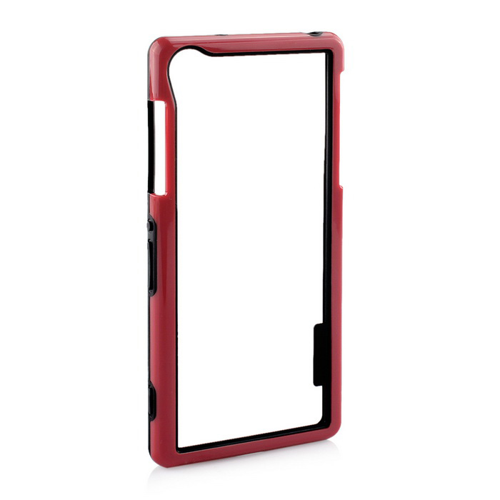Durable Ultra-thin TPU Bumper Frame Case for Sony Z2 - Red + Black