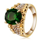 Xinguang Women's Green Zircon Crystal + Alloy Ring - Golden (US Size 8)