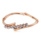 Women's Elegant Alloy + Crystal Bracelet - Rose Gold