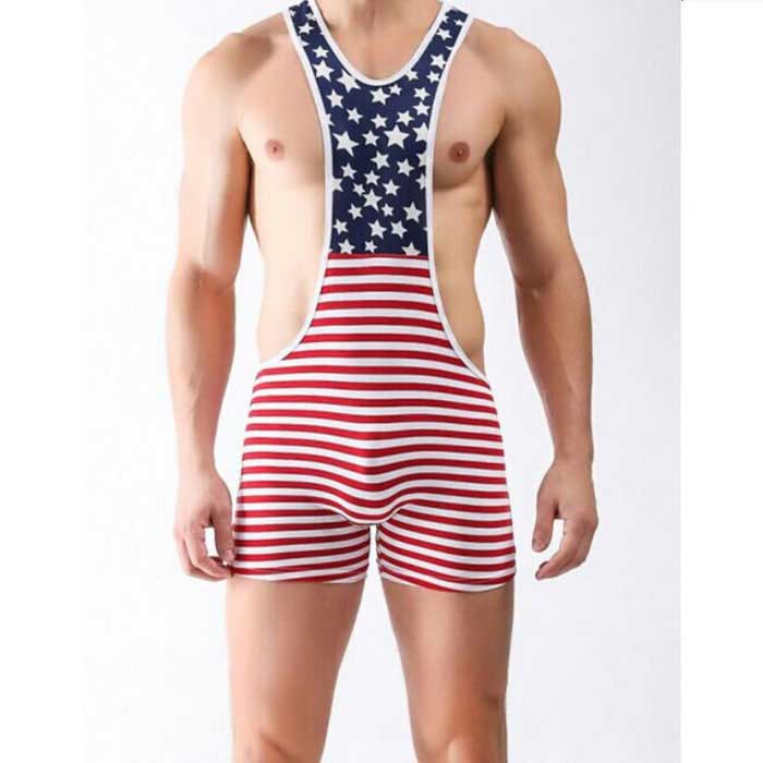 Men's Striped High Waist Sexy Cotton Lingerie - Red + Multicolor (M)