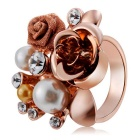 Women's Stylish Rose Design Alloy + Crystal Ring - Rose Gold (US Size: 8)