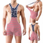 Men's Striped High Waist Sexy Cotton Lingerie - Red + Multicolor (L)