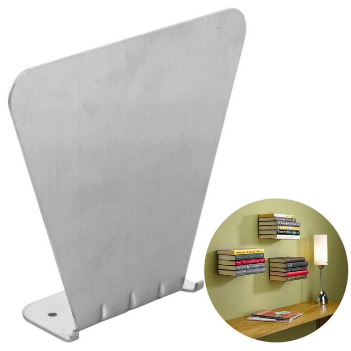 Wall Mounted Floating Bracket Concealed Invisible Bookshelf - Silver