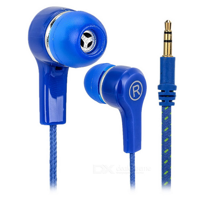 Fashion Beads Style Cable 3.5mm Plug In-Ear Earphone - Blue + Transparent