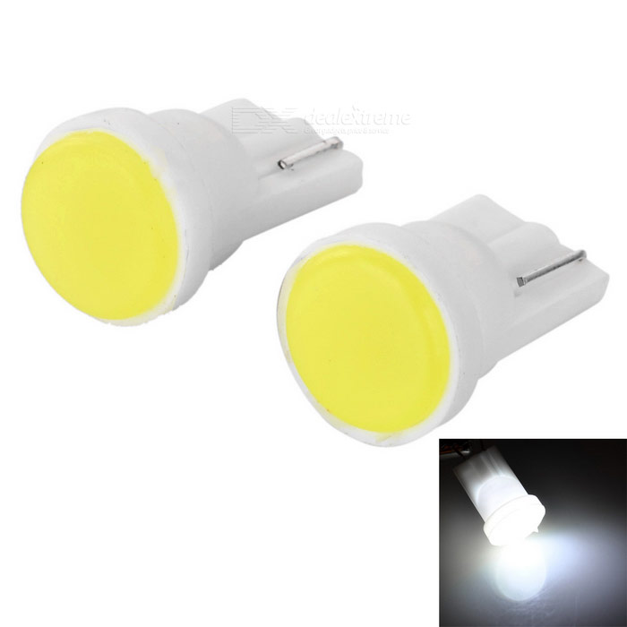 T10 0.2W COB LED Car Reading Lamps Signal Light Cool White 20lm (2PCS)