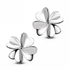 eQute ESIW26C1 Women's Fashion 925 Sterling Silver Clover Style Ear Studs Earrings - Silver (Pair)