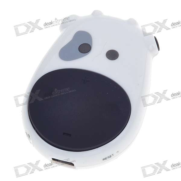 Cute Cow USB Rechargeable MP3 Player - White (4GB)