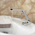 Contemporary Style Single Handle One Hole Hot + Cold Water Bathroom Sink Faucet - Silver