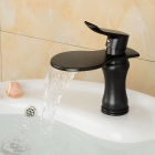 Contemporary Large Wide-mouth Waterfall Oil-rubbed Bronze Bathroom Sink Faucet (Short) - Black