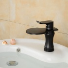 Wide-mouth Waterfall Oil-rubbed Bathroom Sink Faucet (Short) - Black