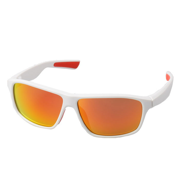 Retro UV400 Protection PC Sports Sunglasses - White + Red REVO