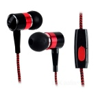Mini In-Ear Remote Earphones w/ Microphone for IPHONE / IPOD - Red + Black