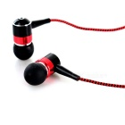 Mini In-Ear Remote Earphones w/ Mic. for IPHONE / IPOD - Red + Black