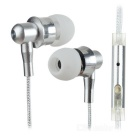 Wired Metal In-Ear Earphones w/ Mic. / Remote - White + Silver
