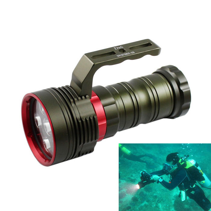 KINFIRE DX6 XM-L2 U2 Waterproof High Power 4200lm Diving FlashlightDiving Flashlights<br>Form  ColorDark Green + RedQuantity1 DX.PCM.Model.AttributeModel.UnitMaterialAluminum alloyEmitter BrandOthers,N/ALED TypeXM-L2Emitter BINU2Color BINCold WhiteNumber of Emitters6Theoretical Lumens6600 DX.PCM.Model.AttributeModel.UnitActual Lumens4200 DX.PCM.Model.AttributeModel.UnitPower Supply4 x 18650 (Not included)Working Voltage   3.6~4.2 DX.PCM.Model.AttributeModel.UnitCurrent2750~3760 DX.PCM.Model.AttributeModel.UnitRuntime3~4 DX.PCM.Model.AttributeModel.UnitNumber of Modes3Mode ArrangementHi,Mid,Fast StrobeMode MemoryNoSwitch TypeTwistySwitch LocationHead TwistyLens MaterialOptical lensesReflectorAluminum SmoothWorking Depth Underwater180 DX.PCM.Model.AttributeModel.UnitStrap/ClipNoPacking List1 x Diving flashlight<br>