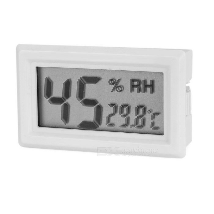 "1.6"" Mini Digital LCD Embedded Car Thermometer Hygrometer Humidity Temperature Meter Tester - White"