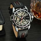 MCE Fashion Mechanical Analog PU Watchband Wrist Watch - Black + Silver