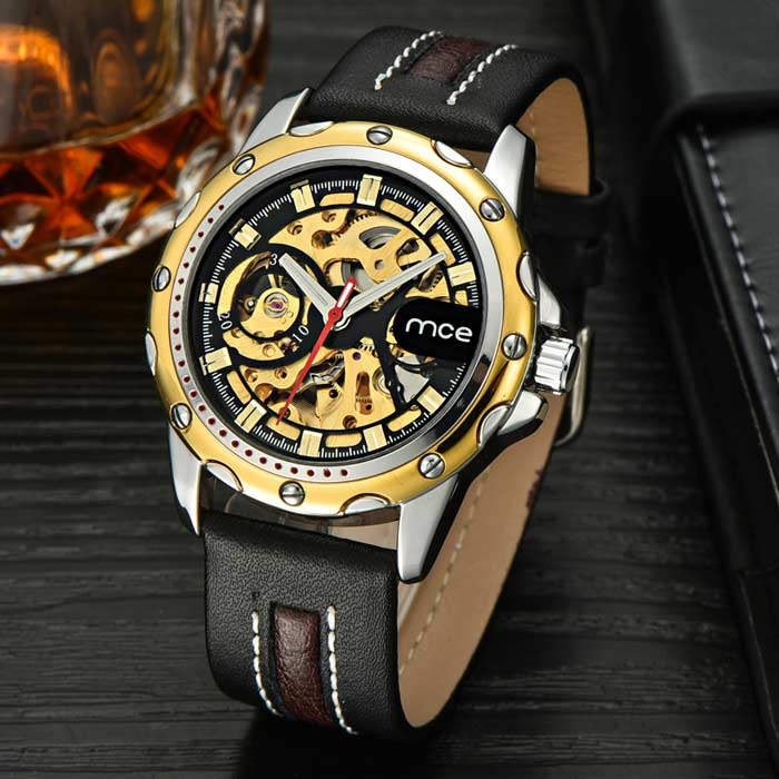 MCE fashion PU montre bracelet automatique analogique montre analogique - noir + or