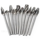 10-in-1 Tungsten Steel Rotary File Bur Burr Cutter Woodwork Engraving Grinding Bit - White + Silver