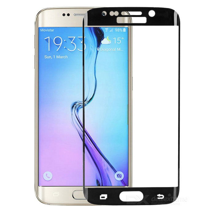 Mini Smile Tempered Glass Full Screen Film for Samsung S6 Edge - Black