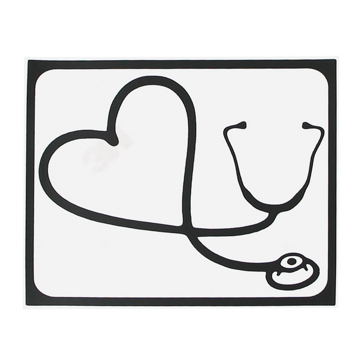 Hat-Prince Stethoscope Pattern Decorative Sticker for MACBOOK - Black
