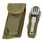 AoTu Multifunctional Outdoor Foldable Knife Tableware Set - Army Green