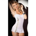 Strap Lace-up Lace Sexy Lingerie - White