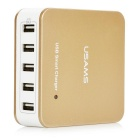 USAMS 40W 8A 5-USB Fast Charger for Phone, Tablet PC - Gold (US Plugs)