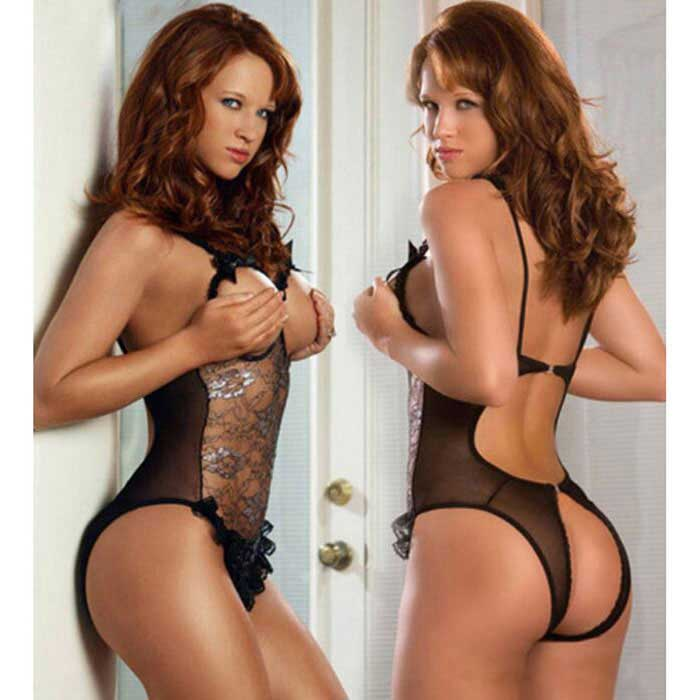 Bare-breasted Lace Temptation One-Piece Sexy Lingerie - Black