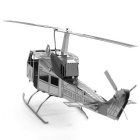 3D Laser Cute Models Metallic Huey Helicopter Nano Puzzle - Silver