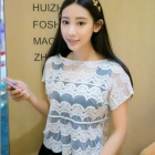 Korean Style Sun-block Openwork Lace Knitted Short-sleeved Jacket Blouse Top - White