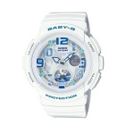 Genuine Casio Baby-G BGA-190-7BER Ladies' Dual Dial Analog-Digital Travel Watch - White