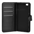 Lichee Pattern PU Case w/ Stand & Card Slots for Huawei P8 Lite -Black
