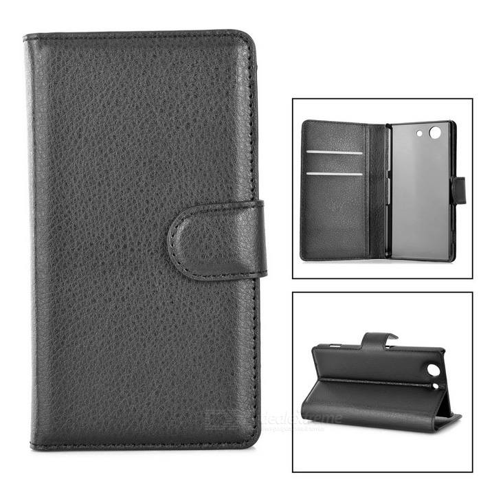 Flip-Open PU Case Cover w/ Stand & Card Slots for Sony Z3 Mini - Black