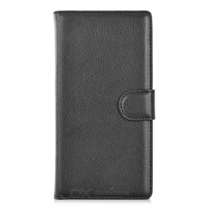 Lichee Pattern PU Case w/ Stand, Card Slots for Sony Xperia Z3 - Black