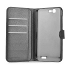Lichee Pattern Case w/ Stand & Card Slots for Huawei Ascend G7 - Black