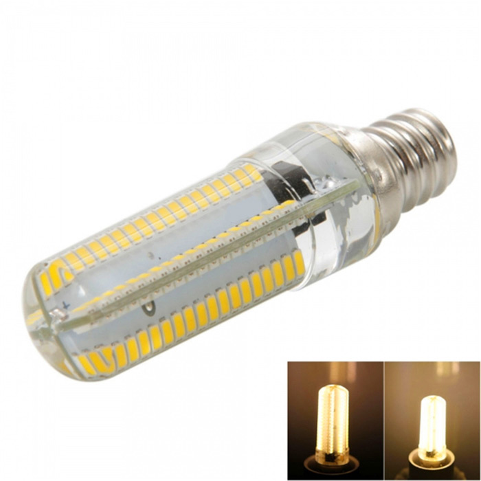 E12 7W Dimmable LED Corn Bulb Warm White Light 3000K 840lm (AC 110V)Other Connector Bulbs<br>Form  ColorWhite + Orange + Multi-ColoredColor BINWarm WhiteMaterialSiliconeQuantity1 DX.PCM.Model.AttributeModel.UnitPower7WRated VoltageOthers,AC 110 DX.PCM.Model.AttributeModel.UnitConnector TypeOthers,E12Emitter TypeOthers,3014 SMD LEDTotal Emitters152Theoretical Lumens1520 DX.PCM.Model.AttributeModel.UnitActual Lumens0~840 DX.PCM.Model.AttributeModel.UnitColor Temperature3000KDimmableYesBeam Angle360 DX.PCM.Model.AttributeModel.UnitPacking List1 x LED corn light<br>