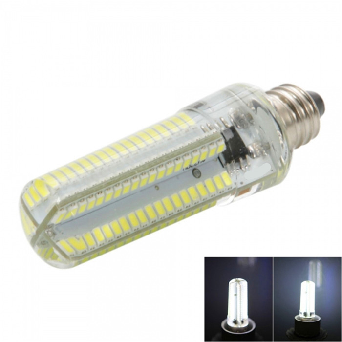 E11 7W Dimmable LED Corn Bulb Cold White Light 840lm SMD 3014 (AC110V)Other Connector Bulbs<br>Form  ColorWhite + Light Green + Multi-ColoredColor BINCold WhiteMaterialSiliconeQuantity1 DX.PCM.Model.AttributeModel.UnitPower7WRated VoltageOthers,AC 110 DX.PCM.Model.AttributeModel.UnitConnector TypeOthers,E11Emitter TypeOthers,3014 SMD LEDTotal Emitters152Theoretical Lumens1520 DX.PCM.Model.AttributeModel.UnitActual Lumens0~840 DX.PCM.Model.AttributeModel.UnitColor Temperature6000KDimmableYesBeam Angle360 DX.PCM.Model.AttributeModel.UnitPacking List1 x LED corn light<br>