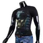 Fashionable Cool Casual General Skull Pattern Round-Neck Short-Sleeved Cotton T-Shirt - Black (XXL)